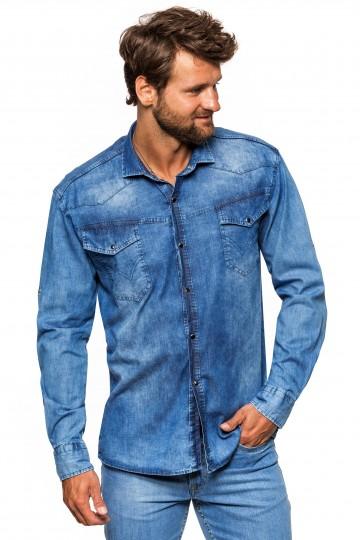Koszula męska jeansowa Niebieska przecierana RDP