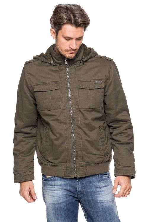 Kurtka męska zimowa ocieplana z kapturem kożuszek 6656 - khaki