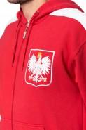 Polska - Bluza kibica na zamek z kapturem - czerwona