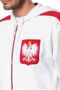 Polska - Bluza kibica na zamek z kapturem - biała