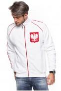 Polska - Bluza kibica na zamek bez kaptura - biała
