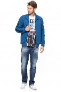 Bluza na zamek bez kaptura - Mars - 100% bawełna - jeansowa