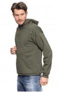 Bluza z kapturem - kangurka - 100% bawełna - khaki