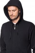 Bluza na zamek z kapturem - 100% bawełna - czarna