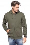 Bluza na zamek z kapturem - 100% bawełna - khaki