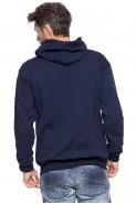 Bluza na zamek z kapturem - 100% bawełna - granat