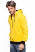 Bluza na zamek z kapturem - 100% bawełna - żółta