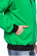 Bluza na zamek z kapturem - 100% bawełna - zielona