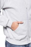 Bluza na zamek z kapturem - 100% bawełna - melanż