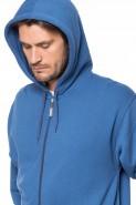 Bluza na zamek z kapturem - 100% bawełna - jeansowa