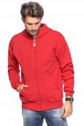 Bluza na zamek z kapturem - 100% bawełna - czerwona