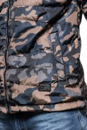 Kurtka męska pikowana z kapturem N88 - szaro - granatowa
