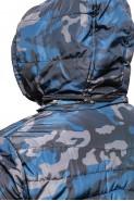 Kurtka męska przejściowa z kapturem - moro - army - niebieska