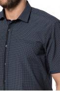 Koszula męska - Krótki rękaw - granatowa w kropki