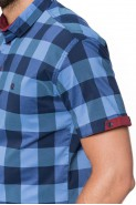 Koszula męska - krótki rękaw - RDP - kratka - granatowa