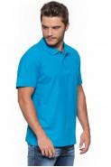 Koszulka męska POLO - 100% bawełna - turkusowa