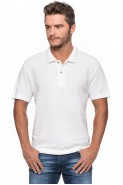 Koszulka męska POLO - 100% bawełna - biała