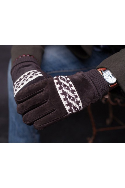 Rękawiczki męskie zimowe grube ocieplane zamszowe z futerkiem w środku - brązowe