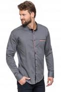 Koszula męska - długi rękaw - QT - grafitowa - gładka