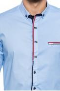 Koszula męska - długi rękaw - QT - błękitna - gładka