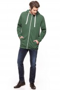 Bluza na zamek BIG z kapturem - Nadwymiar - zielona