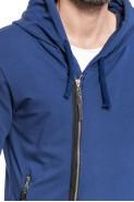 Bluza męska LONG - na zamek z kapturem - przedłużana - granat