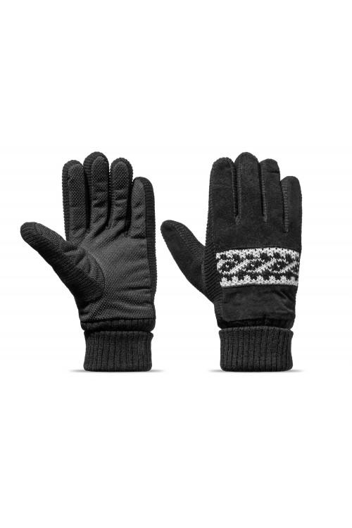 Rękawiczki męskie zimowe grube ocieplane zamszowe z futerkiem w środku - czarne