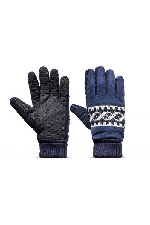 Rękawiczki męskie zimowe grube ocieplane zamszowe z futerkiem w środku - granatowe