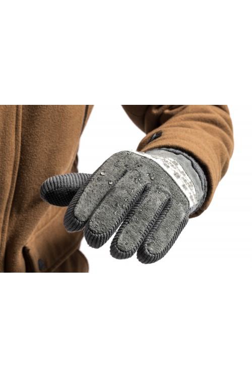 Rękawiczki męskie zimowe grube ocieplane zamszowe z futerkiem w środku - szare