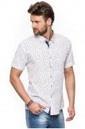 Koszula męska - krótki rękaw - kreska deszczyk lato
