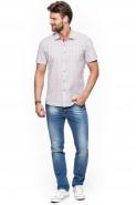 Koszula męska - krótki rękaw - Małe kwiaty - hawajska - biała