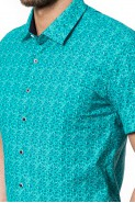 Koszula męska - krótki rękaw - Małe kwiaty - hawajska - morska