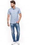 Koszula męska - krótki rękaw - Małe kwiaty - hawajska - błękitna