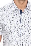 Koszula męska - krótki rękaw - palma deska lato