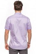 Koszula męska - krótki rękaw - Gładka - Fioletowa