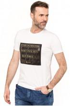 Koszulka męska - Tshirt - Tłoczone napisy - biała