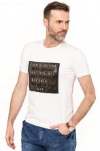 Koszulka męska - Tshirt - Tłoczone napisy - czarna
