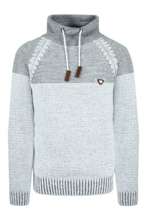 Sweter męski - KOMIN MELANŻ - ciepły - wygodny - szary
