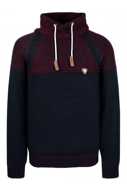 Sweter męski - KOMIN WAR. DWUKOLOR - ciepły - wygodny - grafit