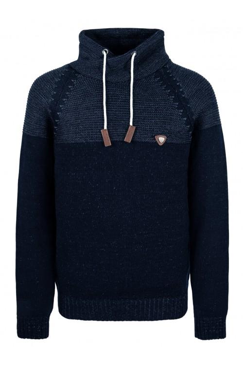 Sweter męski - KOMIN WAR. DWUKOLOR - ciepły - wygodny - jeans