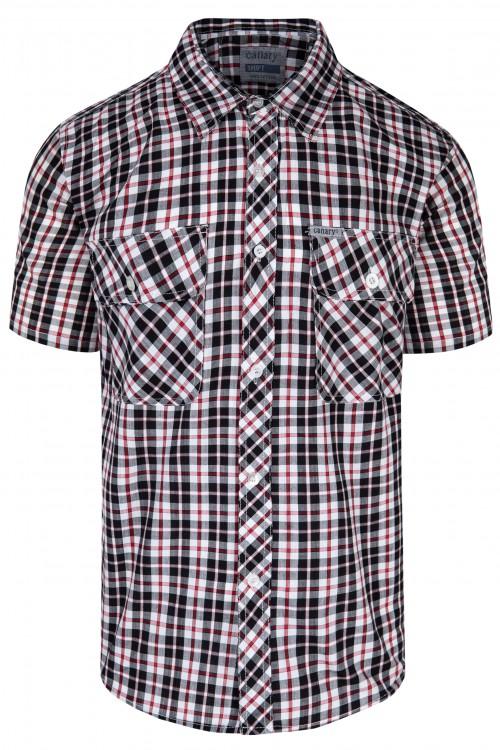 Koszula męska w kratę - na lato - kratka kolorowa - czarno-czerwona