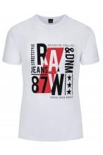 Koszulka męska - Tshirt - Raw87 Denim - biała