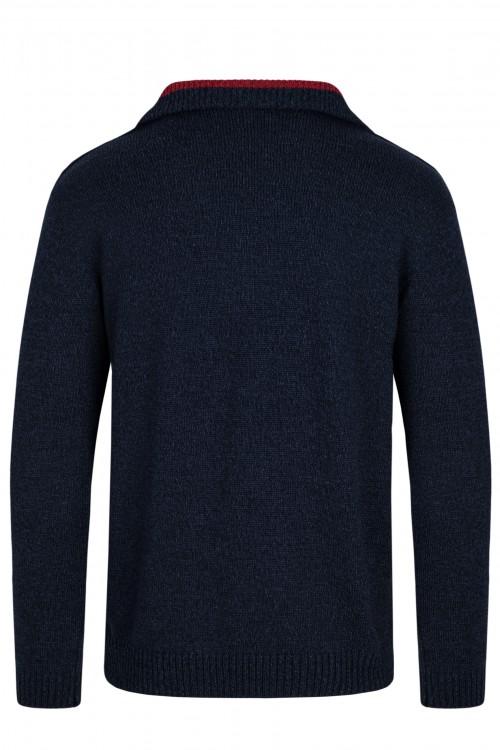 Sweter męski - półzamek - golf - czerwony