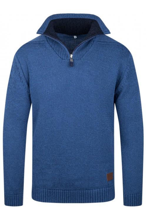 Sweter męski - półzamek - golf - jeansowy