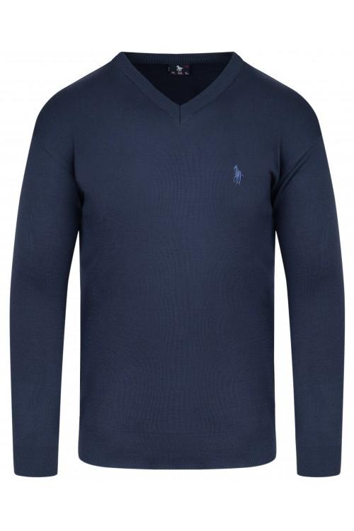 Sweter męski V-neck w serek - KNK - wełna/akryl - jeansowy