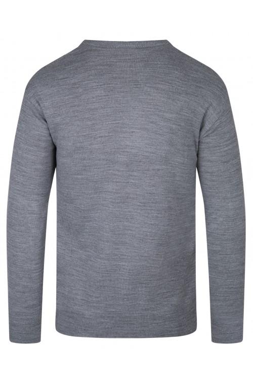 Sweter męski V-neck w serek - KNK - wełna/akryl - grafitowy