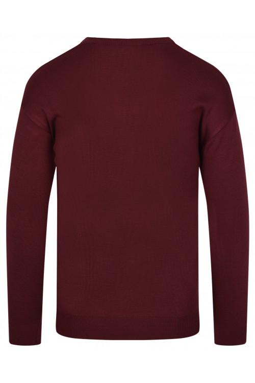 Sweter męski V-neck w serek - KNK - wełna/akryl - szary