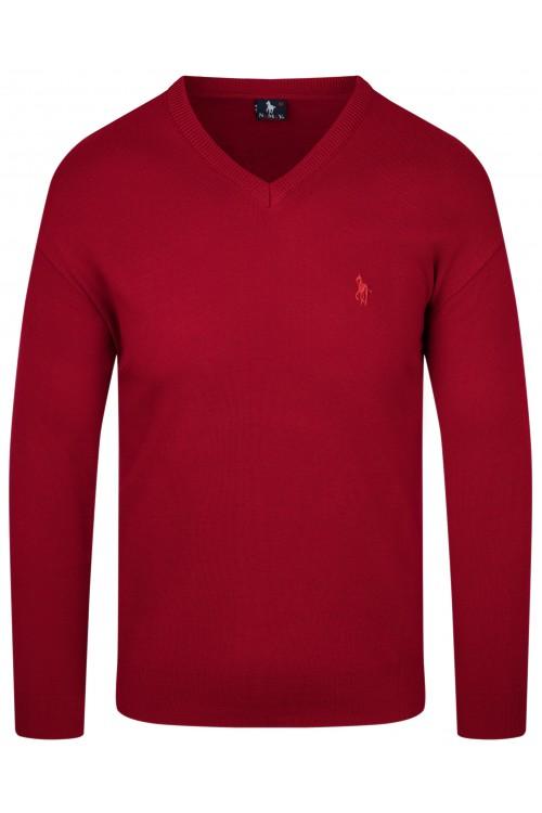 Sweter męski V-neck w serek - KNK - wełna/akryl - czerwony
