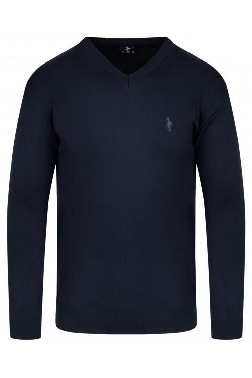 Sweter męski V-neck w serek - KNK - wełna/akryl - granatowy