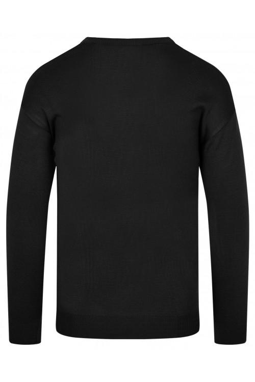 Sweter męski V-neck w serek - KNK - wełna/akryl - czarny